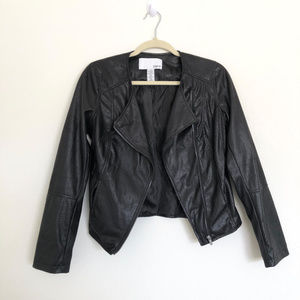 Bar III Black Faux Leather Jacket Size Medium